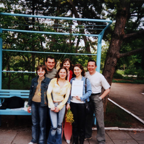 Muzychuk  family and Chulivska V. with coach Grabinsky V.(Evpatoria,Crimea, Ukraine-2005)